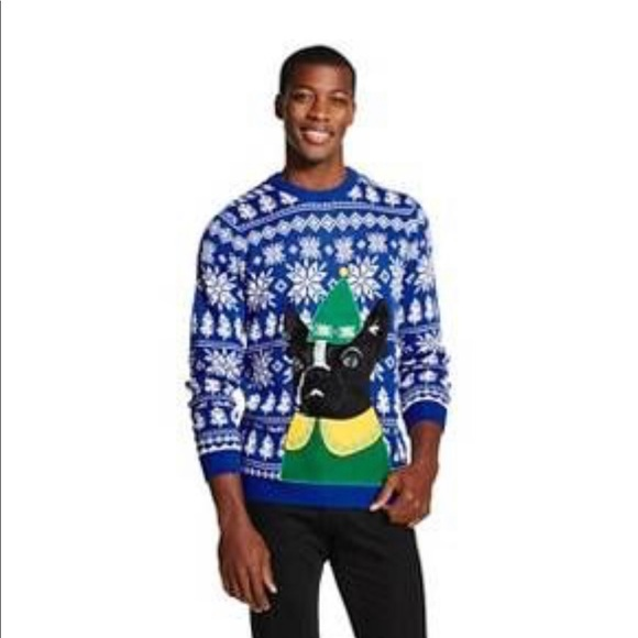 33 Degrees Sweaters French Bulldog Elf Mens Ugly Christmas Sweater